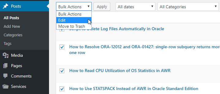 Bulk Actions -> Edit