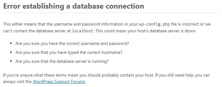 WordPress – Error establishing a database connection