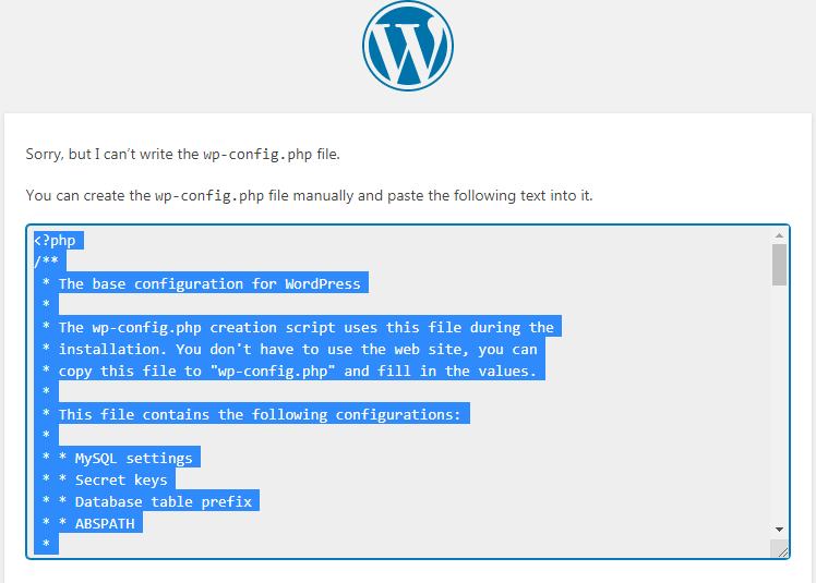 WordPress - Sorry, but I can't write the wp-config.php file.