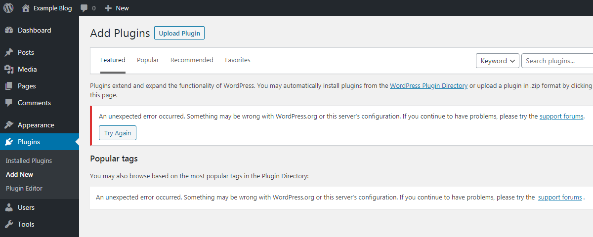 WordPress - Add Plugins - An unexpected error occurred.