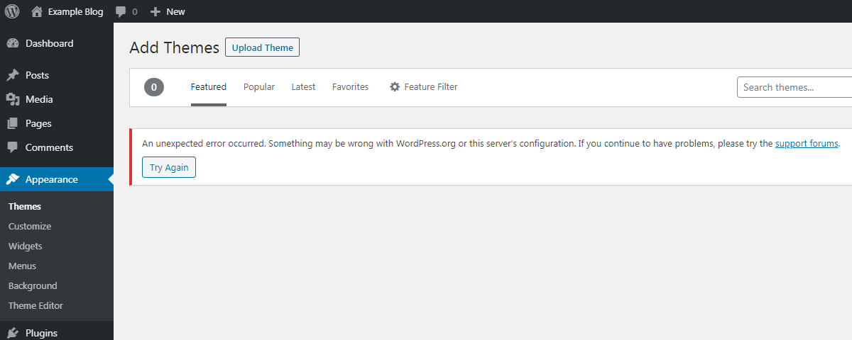 WordPress - Add Themes - An unexpected error occurred.