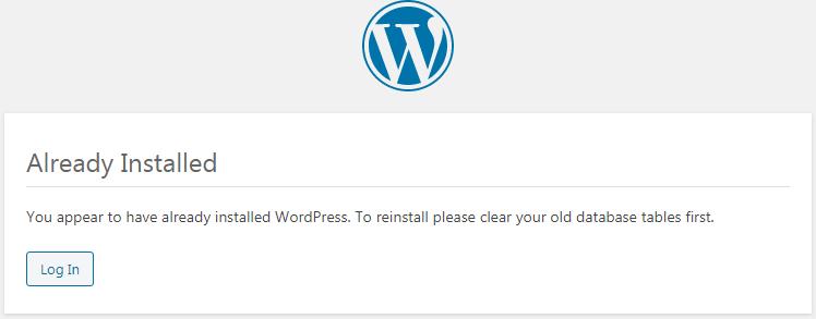WordPress - Already Installed